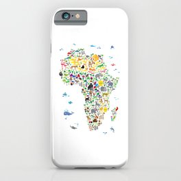 Animal Map of Africa for children and kids iPhone Case