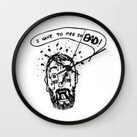 pee wee Wall Clocks featuring Pee by Addison Karl