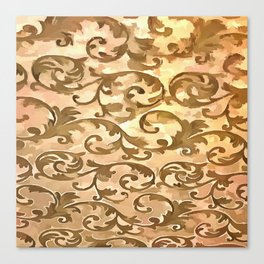 Stylized Foliage Leaves In Gold Canvas Print
