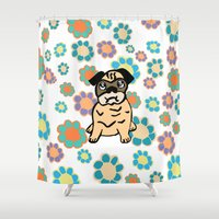 hippy Shower Curtains featuring Hippy Pug  by lindseyclare