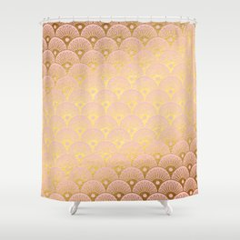 Gold and pink sparkling Mermaid pattern Shower Curtain