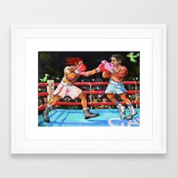 boxing Framed Art Prints featuring boxing by Piubeniart