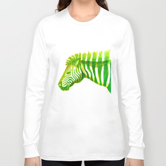 Zebra Watercolor Print Long Sleeve T-shirt