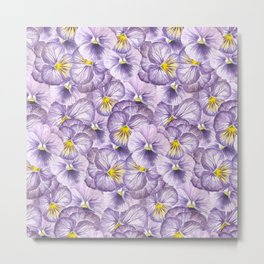 Watercolor floral pattern with violet pansies Metal Print