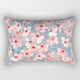 Shabby Chic Hibiscus Patchwork Pattern in Pink & Blue Rectangular Pillow