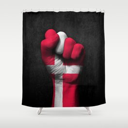 Danish Flag on a Raised Clenched Fist Shower Curtain