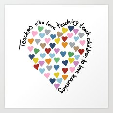 Hearts Heart Teacher Art Print