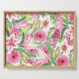 Pink Floral Print Serving Tray