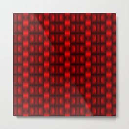 Fashionable large floral from small red intersecting squares in stripes dark cage. Metal Print