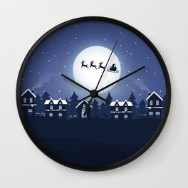 Santa Claus and Sleigh With Reindeer Wall Clock