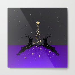 Champagne Gold Star Christmas Tree with Magical Reindeers - Glamorous Purple Metal Print