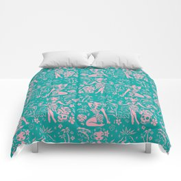 Tiki Temptress in Pink and Turquoise Comforters