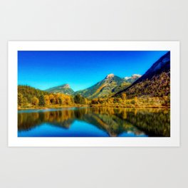 Sienna Lake | Fall colors at the mountain - Oil Canvas Painting  Art Print