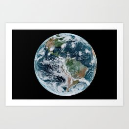 Four Tropical Hurricanes On Planet Earth from Space Satellite Photograph Art Print