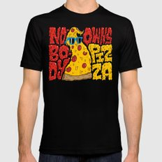 Nobody Owns Pizza! MEDIUM Black Mens Fitted Tee