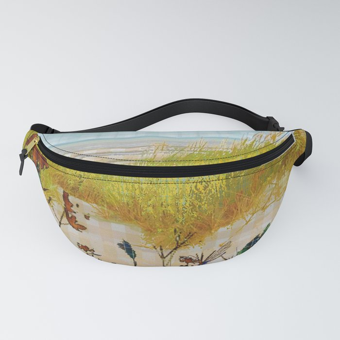 Plaid Beachscape with Dragonflies Fanny Pack
