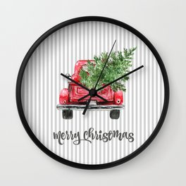 Red Truck With Christmas Tree Wall Clock