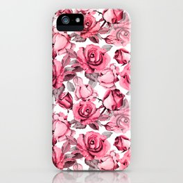 Watercolor blush pink red gray roses floral iPhone Case