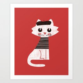 Mark the cat goes to Paris Art Print