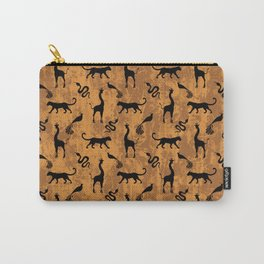 Animal kingdom. Black silhouettes of wild animals. African giraffes, leopards, cheetahs. snakes, exotic tropical birds. Tribal primitive ethnic nature chocolate brown grunge distressed pattern. Carry-All Pouch
