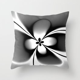Black and White Abstract Floral  Throw Pillow