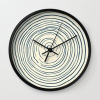 tree rings Wall Clocks featuring Tree Rings by Chase