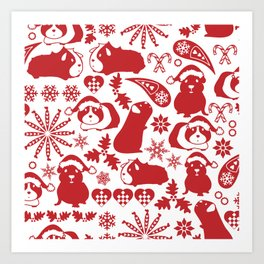 Cavy Christmas Art Print