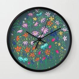 Whimsical Flowers Wall Clock