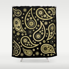 Paisley Funky Design Black and Gold Shower Curtain