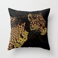 jaguar Throw Pillows featuring Jaguar by Die Farbenfluesterin