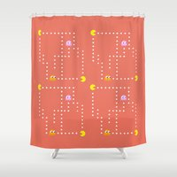pacman Shower Curtains featuring Pacman by CATHERINE DONOHUE