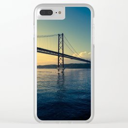Bridge for transit and railroad on the river Tejo in the bay of lisbon in the Republic of Portugal. Clear iPhone Case
