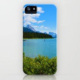 Maligne Lake Boat House in Jasper National Park, Canada iPhone Case