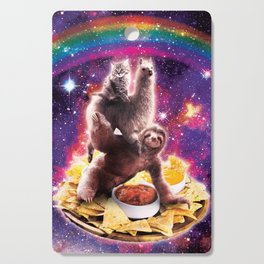 Space Cat Llama Sloth Riding Nachos Cutting Board