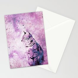 Pink Watercolor Cat Painting Stationery Cards