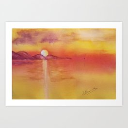 Typical Canarian sunset Art Print