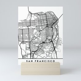 SAN FRANCISCO CALIFORNIA BLACK CITY STREET MAP ART Mini Art Print