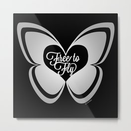 FREE TO FLY butterfly - silver Metal Print