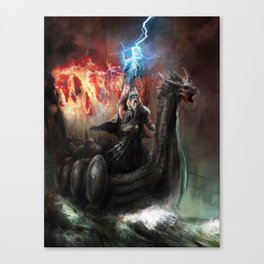 Dragon Viking Ship Canvas Print