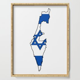 Israel Map with Israeli Flag Serving Tray