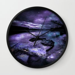 Magical Mountain Lake Purple Teal Wall Clock