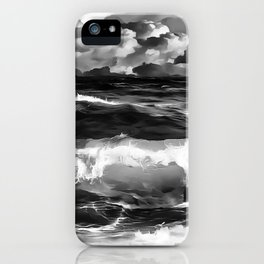 stormy sea waves reacbw iPhone Case