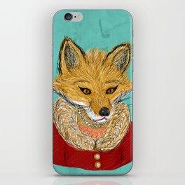 Sophisticated Fox Art Print iPhone Skin