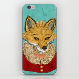 Sophisticated Fox Art Print iPhone Skin