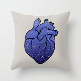 Space love / cosmic gold stars pattern on blue tattoo heart Throw Pillow