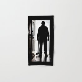 Bad Man at door in silhouette with axe Hand & Bath Towel