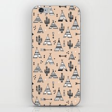 Teepee tent indian summer and cactus garden tribal illustration pattern iPhone & iPod Skin