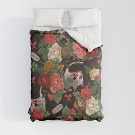 Opossum Floral Pattern (with text) Comforters