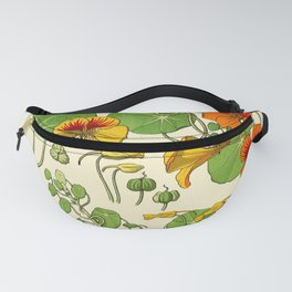 French botanical flower plate - Maurice Verneuil - Capucine Fanny Pack