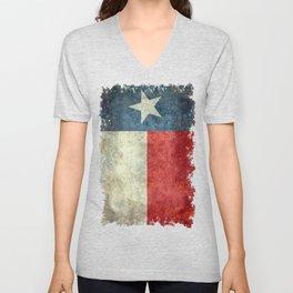 Texas state flag, vintage banner Unisex V-Neck